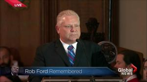Doug Ford fights back tears as he says goodbye to his brother Rob